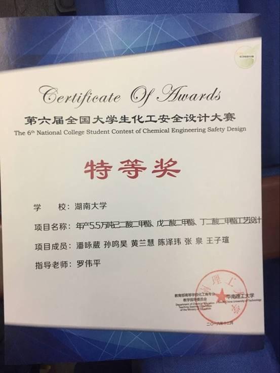 第六届全国必威中文官网化工安全设计竞赛特等奖20181201A